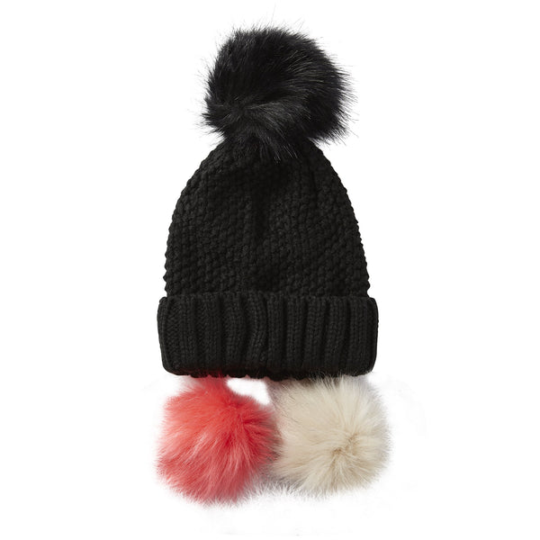 Snap On Pom Pom Beanie - Black