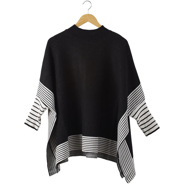Eddie Stripe Poncho - Black