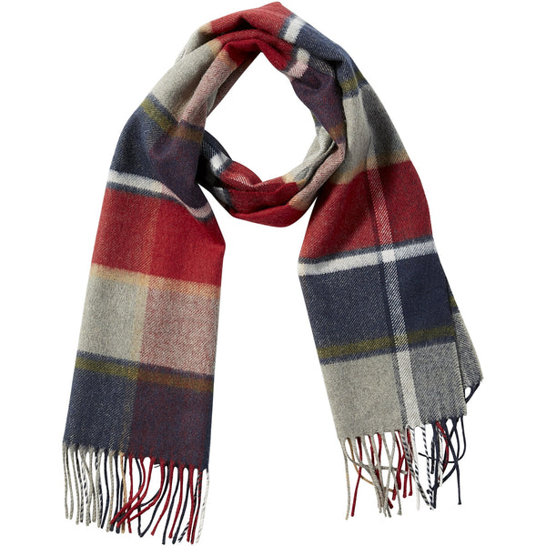 Navy Wool Plaid Fringe Scarf