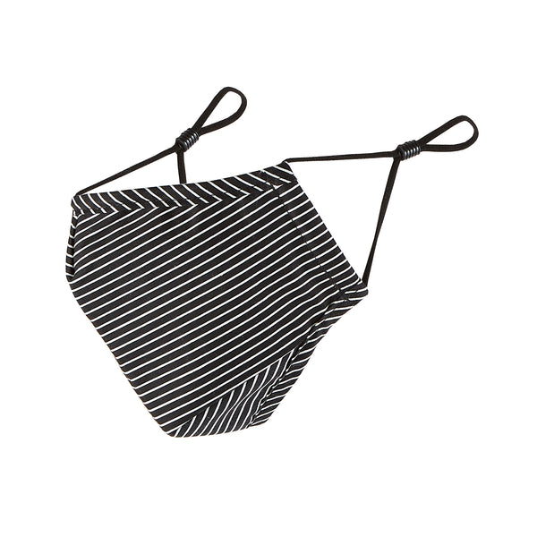 Cloth Face Mask - Black & White Pin Stripe