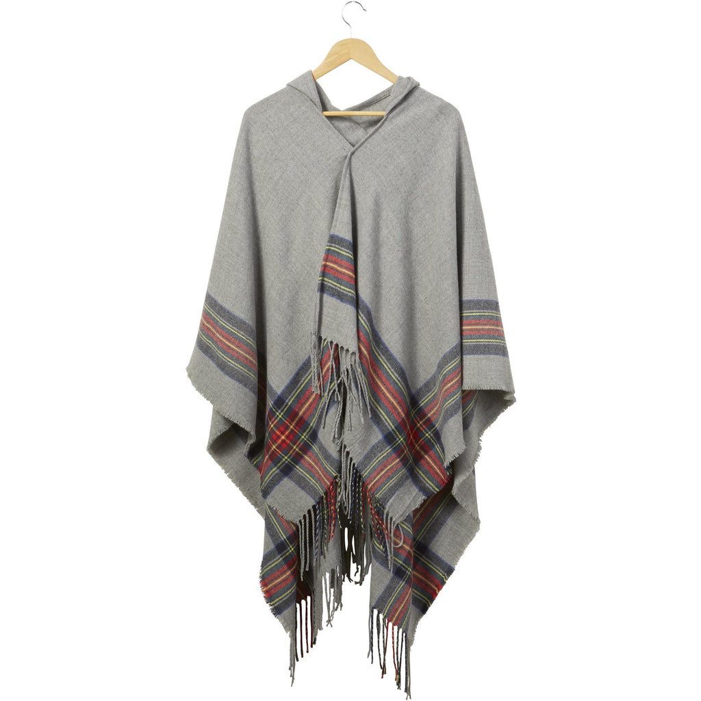 Gray Hooded Tartan Plaid Ruana