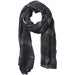 Preppy Lightweight Plaid Scarf - Black