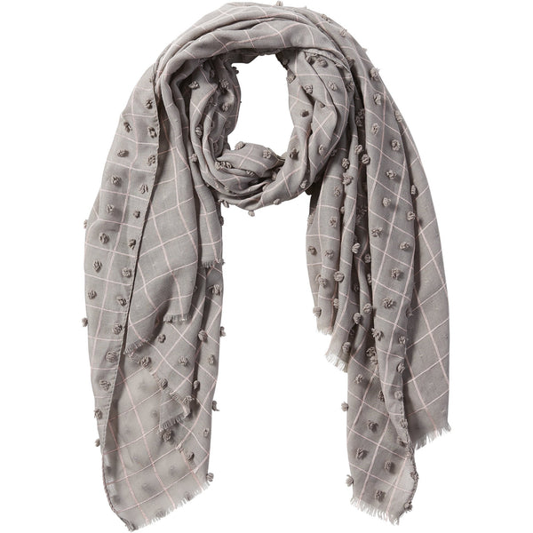 Gray Knotted Squares Scarf