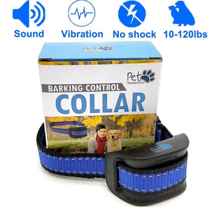 No Shock Humane Bark Control Collar, Sound & Vibration Only, For 10-120lb Dogs. Neck size 8.34in to 24.5in