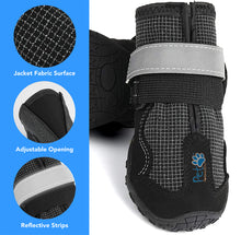 Load image into Gallery viewer, Durable Waterproof Dog Shoes, Extra Secure, Anti-Slip with Reflective Strap (Set of 4)