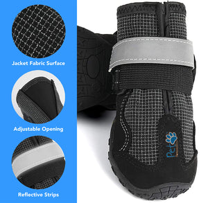Durable Waterproof Dog Shoes, Extra Secure, Anti-Slip with Reflective Strap (Set of 4)