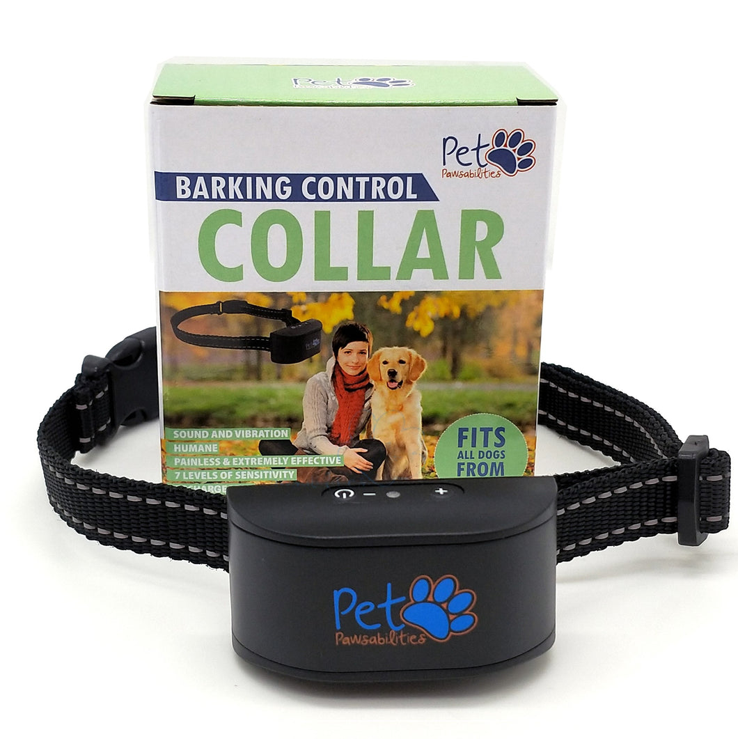 No Shock Humane Rechargeable Water Resistant Bark Control Collar, Sound & Vibration Only, For 6-120lb dogs, Neck size 6in to 27in