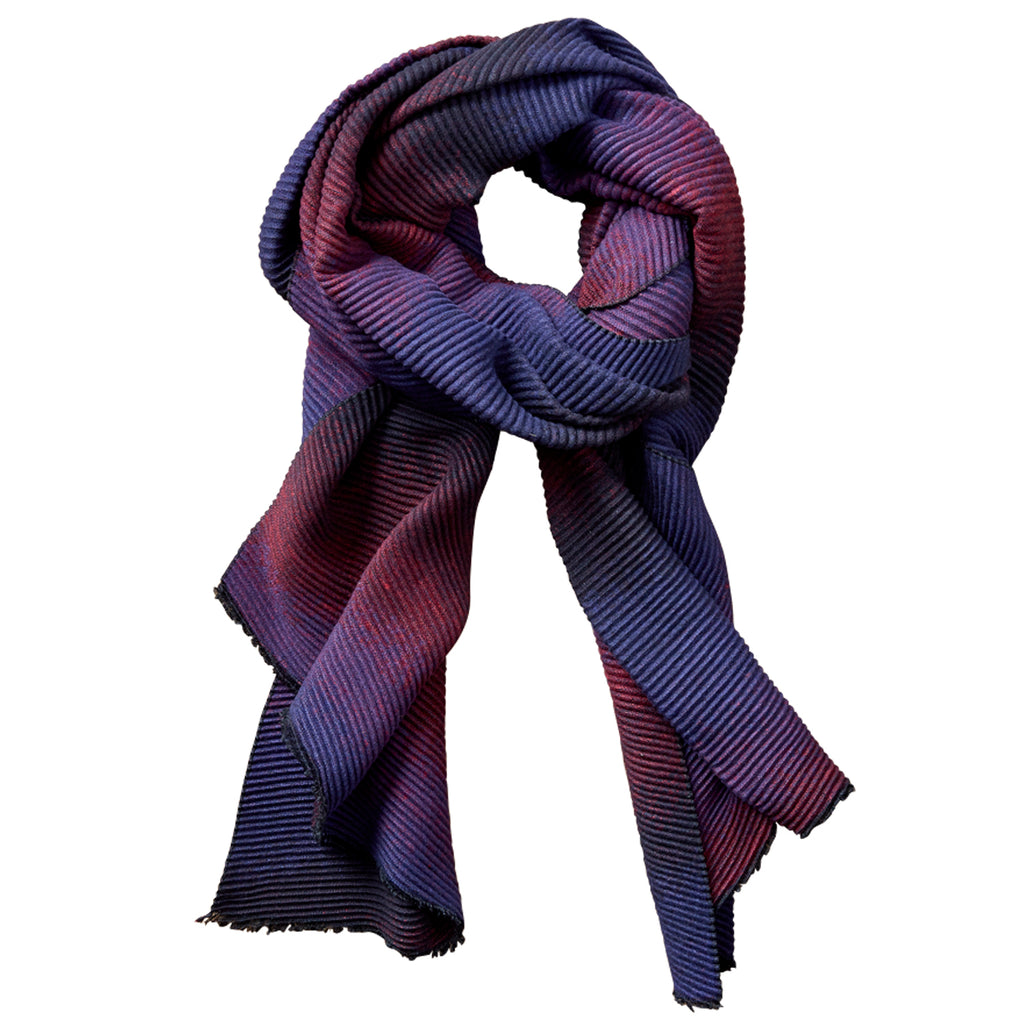 Ombre Ridged Scarf - Navy & Red - Tickled Pink Wholesale