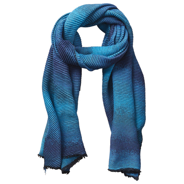 Wholesale Scarves - Ombre Ridged Scarf - Blue & Turquoise - Tickled Pink