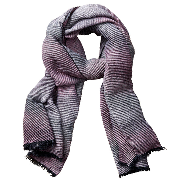 Wholesale Scarves - Ombre Ridged Scarf - Pink & Gray - Tickled Pink