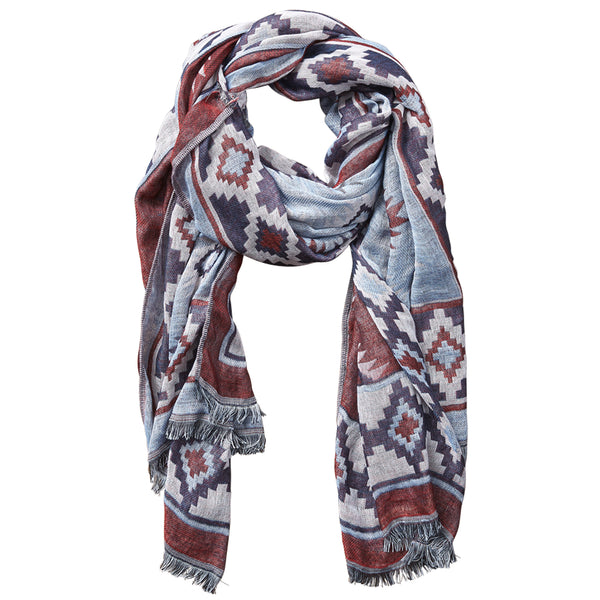 Aztec Tapestry Scarf - Wine - Tickled Pink Wholesale