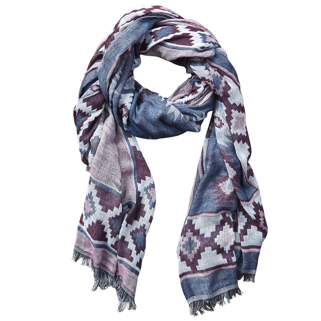 Aztec Tapestry Scarf - Navy - Tickled Pink Wholesale