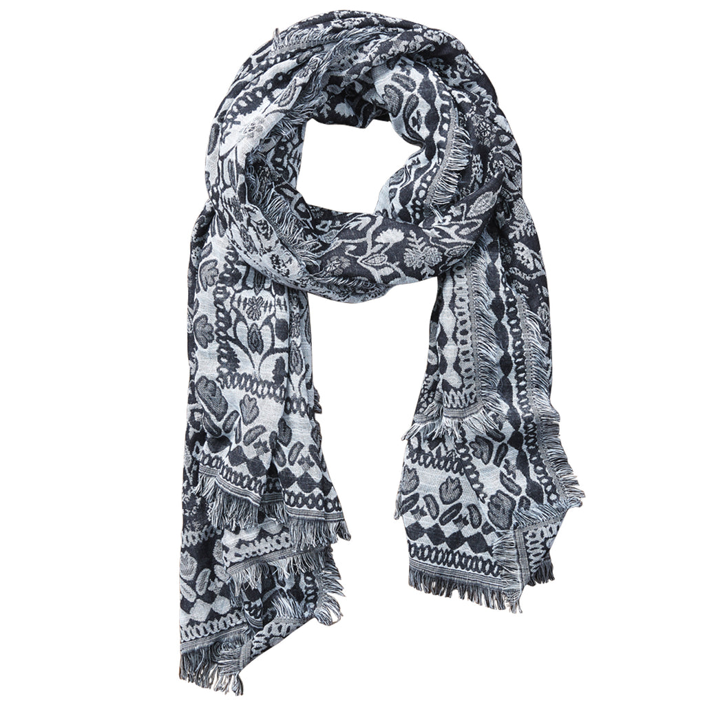 Nepal Tapestry Scarf - Black - Tickled Pink Wholesale