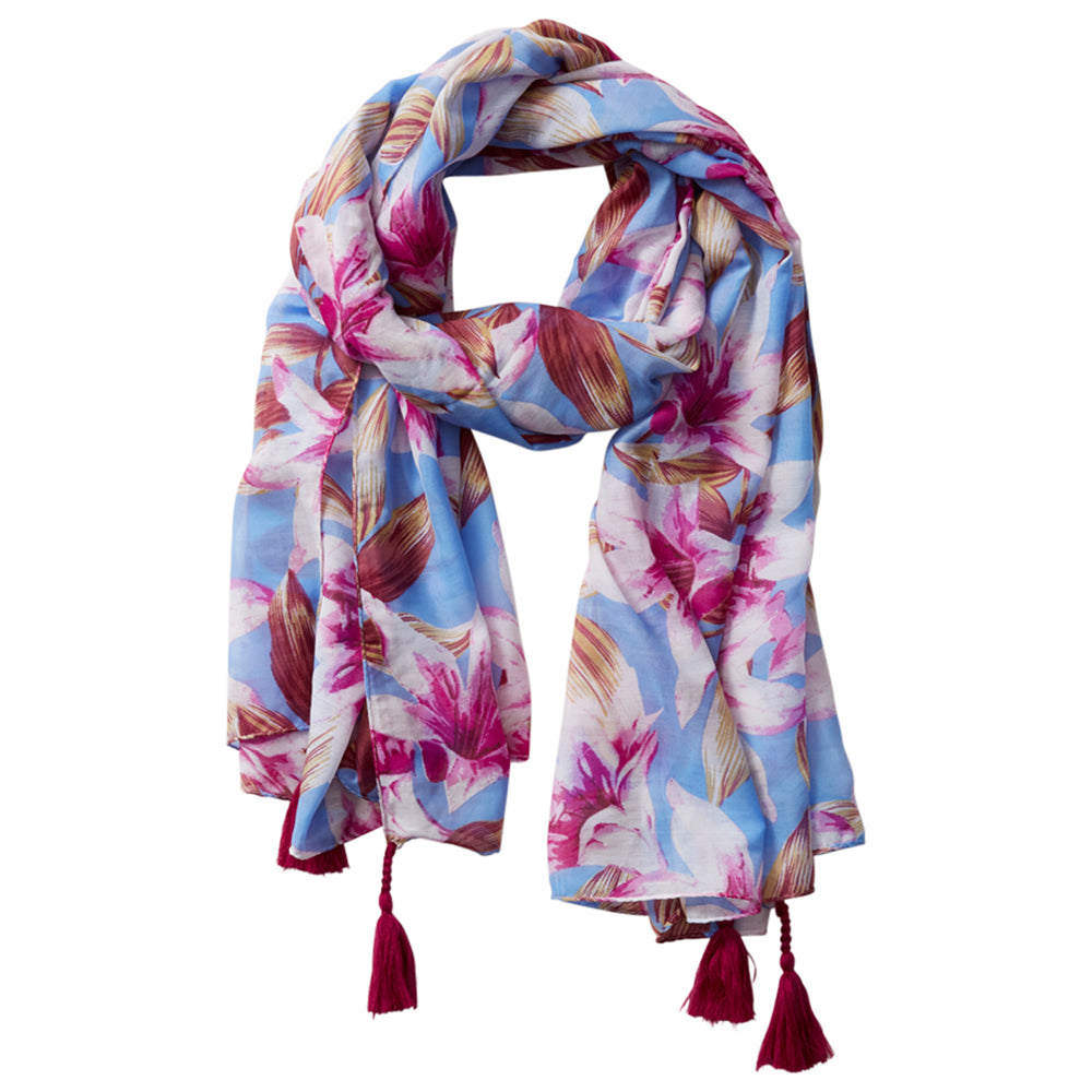Wholesale Scarves - Anvi Floral Scarf - Blue - Tickled Pink