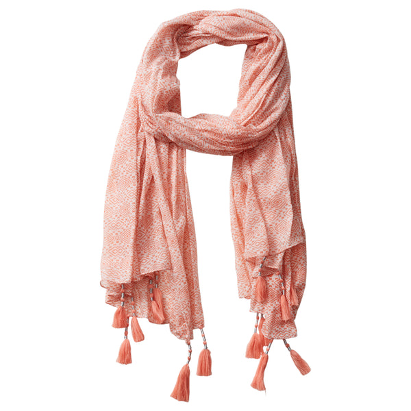 Wholesale Scarves - Pari Diamond Fringe Scarf - Coral - Tickled Pink