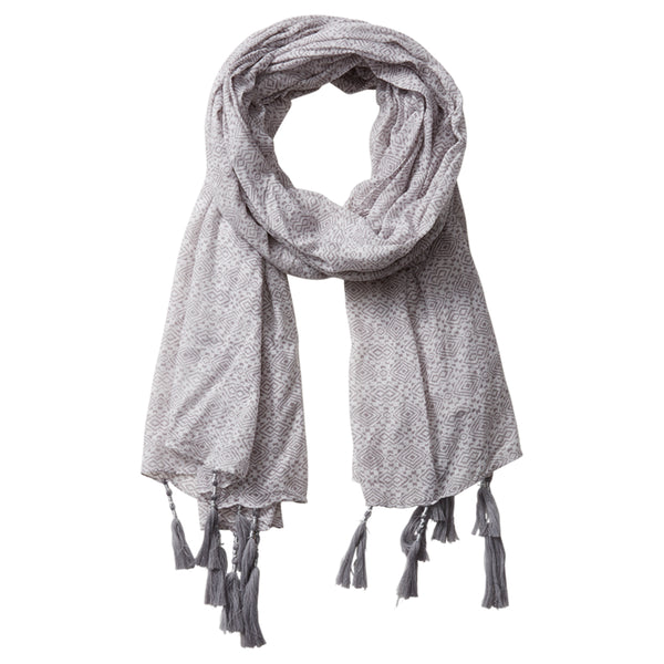 Wholesale Scarves - Pari Diamond Fringe Scarf - Gray - Tickled Pink
