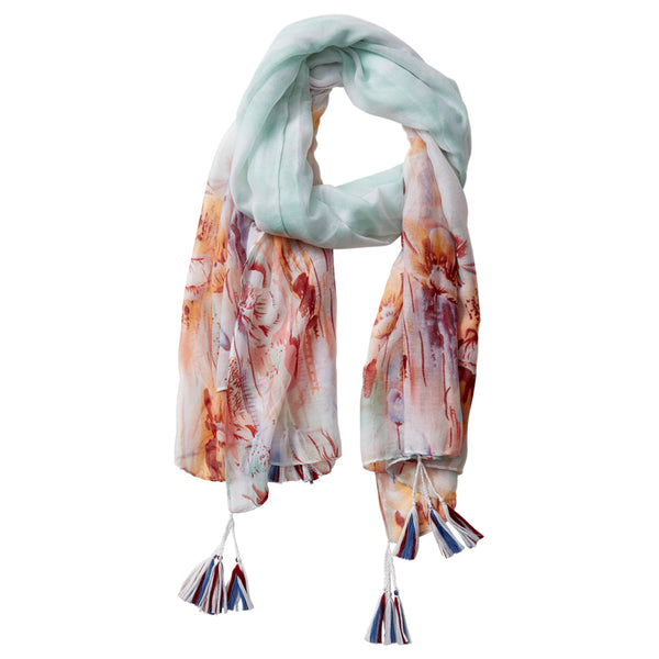 Wholesale Scarves - Floral Escape Tassel Scarf - Mint - Tickled Pink