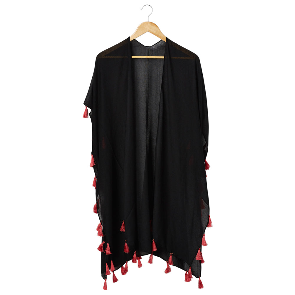 Bondi Beach Cover Up - Black With Coral Tassels - Tickled Pink Wholesale