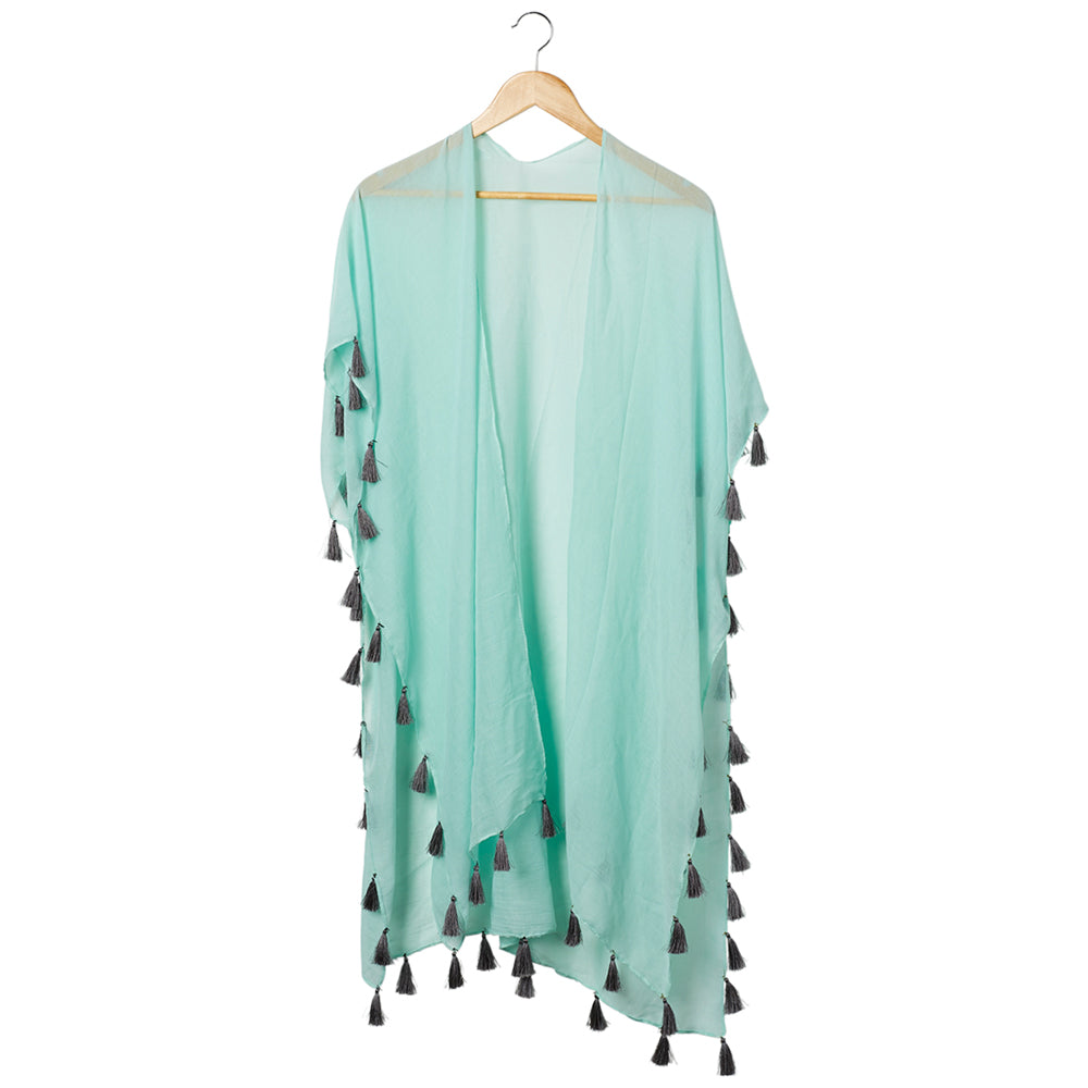 Wholesale Scarves - Bondi Beach Cover Up - Teal With Gray Tassels - Tickled Pink