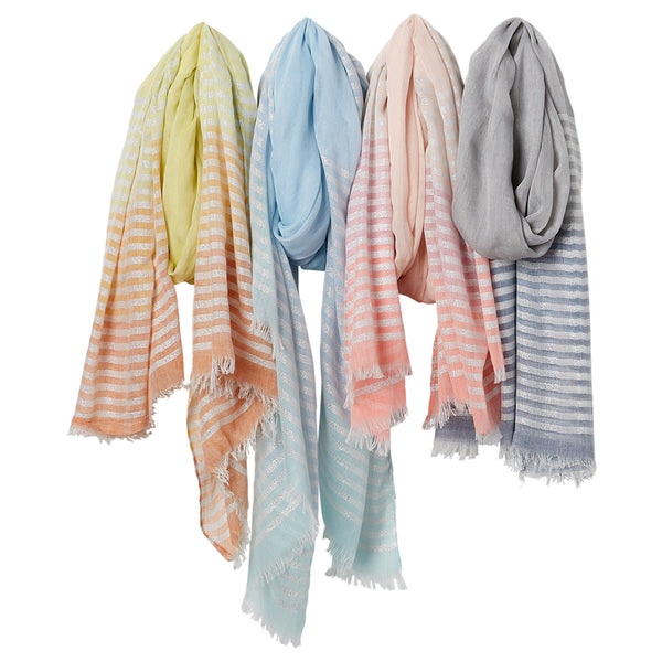 Wholesale Scarves - Shimmer Ombre Scarf - Mixed 4 Pack - Tickled Pink