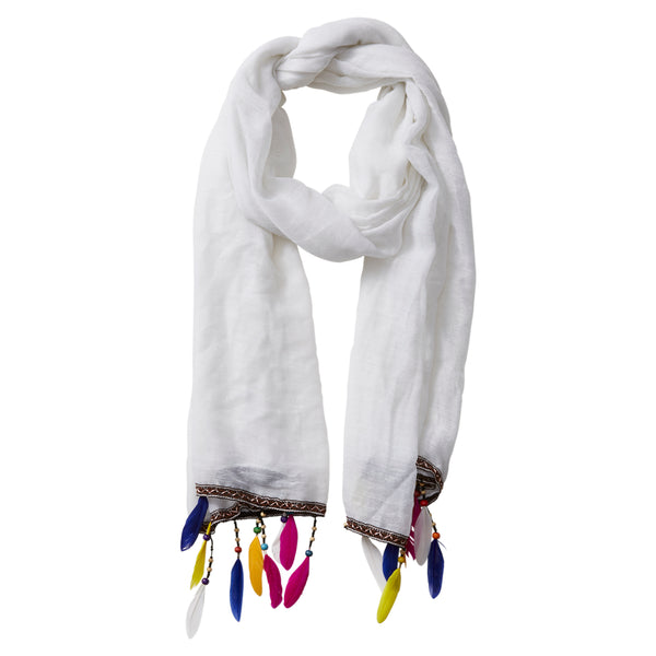 Wholesale Scarves - Summer Beaded Feather Fringe Scarf - White - Tickled Pink