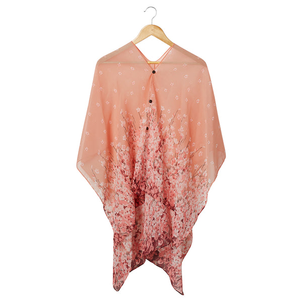 Wholesale Scarves - Field Of Flowers Poncho - Pink - Tickled Pink