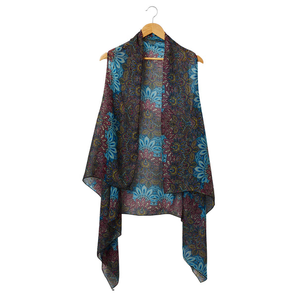 Wholesale Scarves - Sheer Sunflower Paisley Donna Moda Vest - Tickled Pink