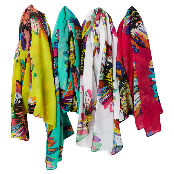 Pop Art Sunflower Scarf - Mixed 4 Pack - Tickled Pink Wholesale