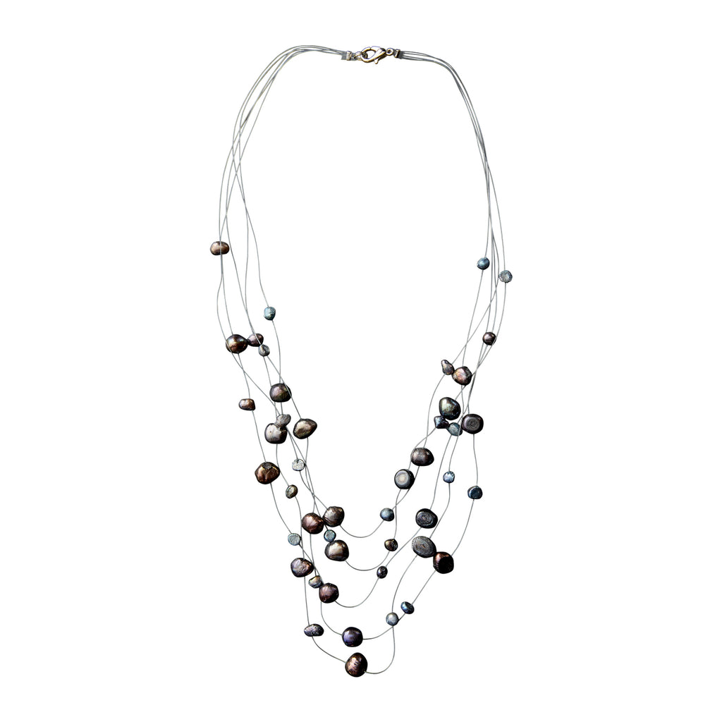 Graphite Pearl Illusion Necklace - Tickled Pink Wholesale