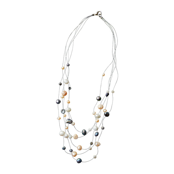 Prismatic Pearl Illusion Necklace - Tickled Pink Wholesale