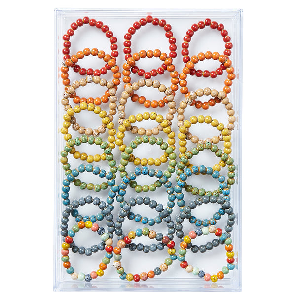 Round Shape Clay Mini Bracelet - Assorted 24 Pack