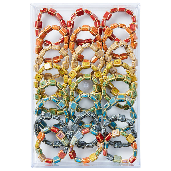 Flat Square Shape Clay Bead Bracelet - Assorted 24 Pack