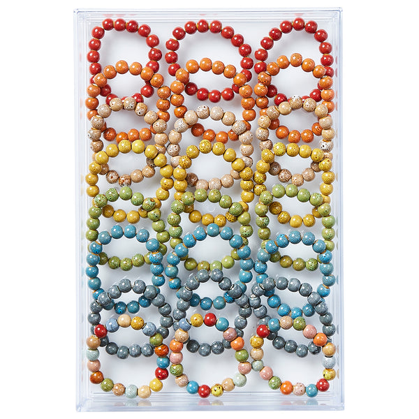 Round Shape Clay Bead Bracelet - Assorted 24 Pack