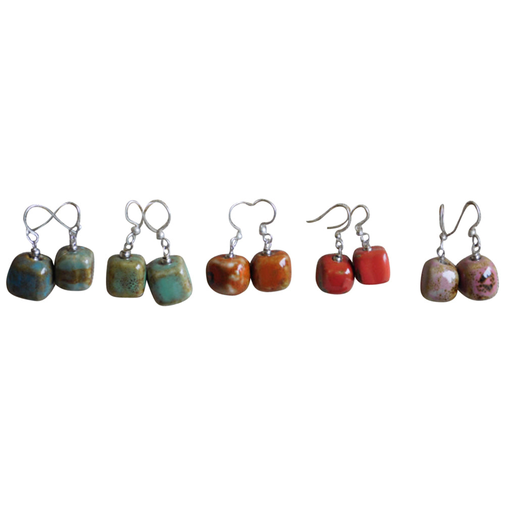 Cube Clay With Silver Earrings - Mixed 5 Pack - Tickled Pink Wholesale