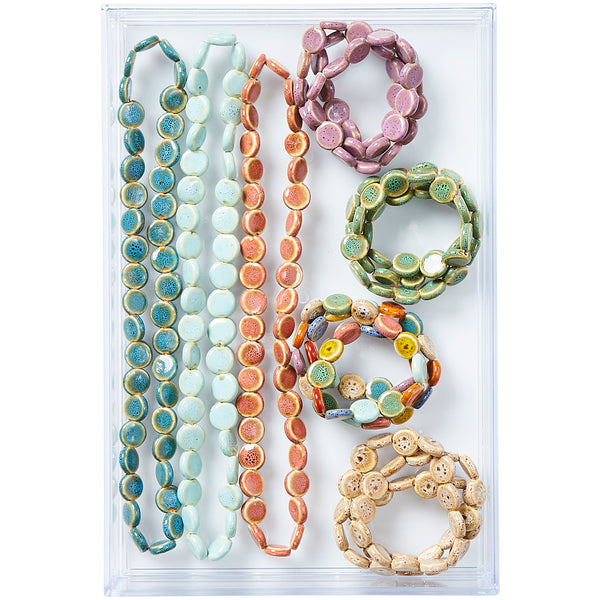 Clay Mini Flat Circle Wrap Bracelet - 12 Pack