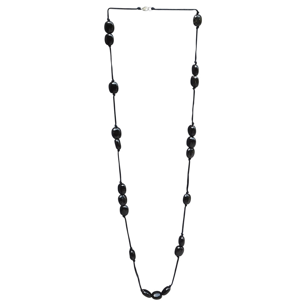 Long Knotted Necklace With Oval Clay Beads - Black - Tickled Pink Wholesale