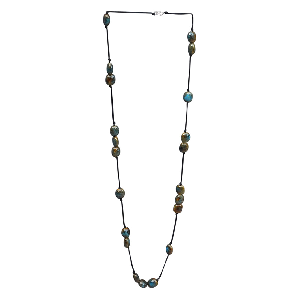 Long Knotted Necklace With Oval Clay Beads - Blue - Tickled Pink Wholesale