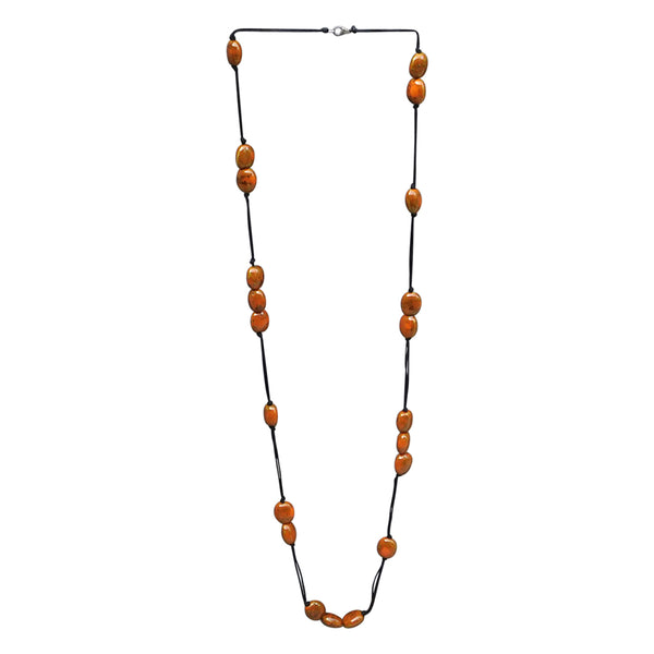 Wholesale Scarves - Long Knotted Necklace With Oval Clay Beads - Orange - Tickled Pink