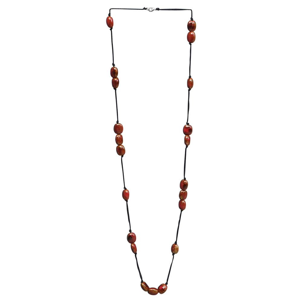 Long Knotted Necklace With Oval Clay Beads - Red - Tickled Pink Wholesale