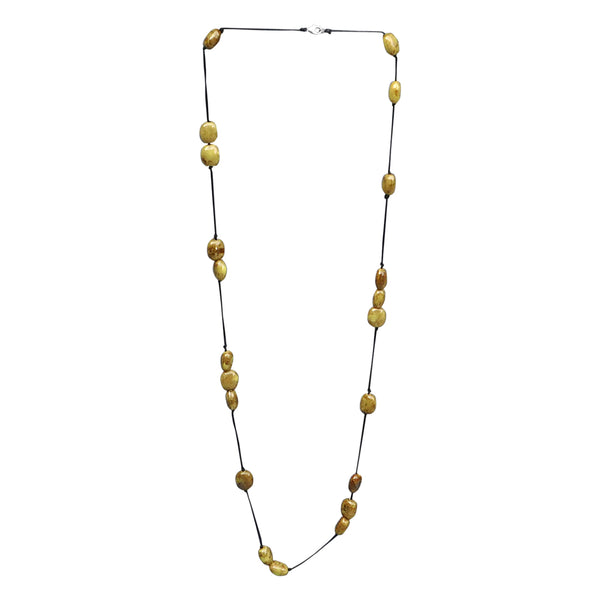 Wholesale Scarves - Long Knotted Necklace With Oval Clay Beads - Yellow - Tickled Pink