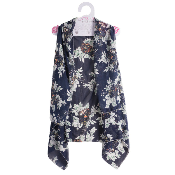 Wholesale Scarves - Navy Blooms Donna Moda Vest - Tickled Pink