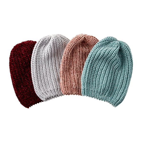 Wholesale Boutique Gifts - Zoey Chenille Beanie - Mixed 4 Pack - Tickled Pink