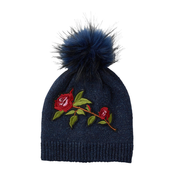 Navy Embellished Rose Beanie - Tickled Pink Wholesale