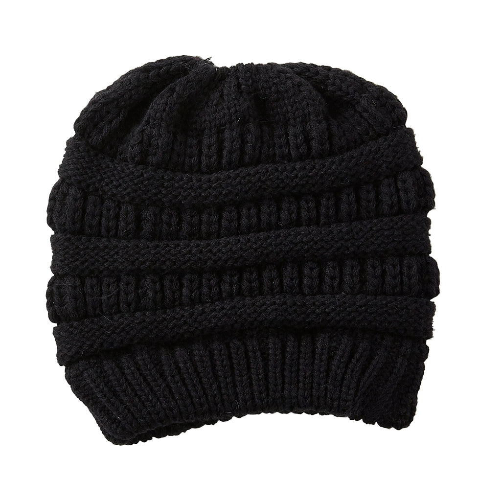 Black Messy Bun Beanie - Tickled Pink Wholesale