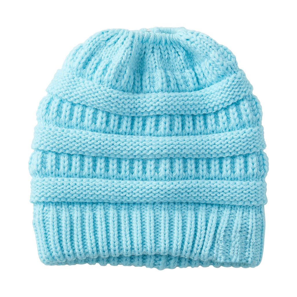 Aqua Messy Bun Beanie - Tickled Pink Wholesale