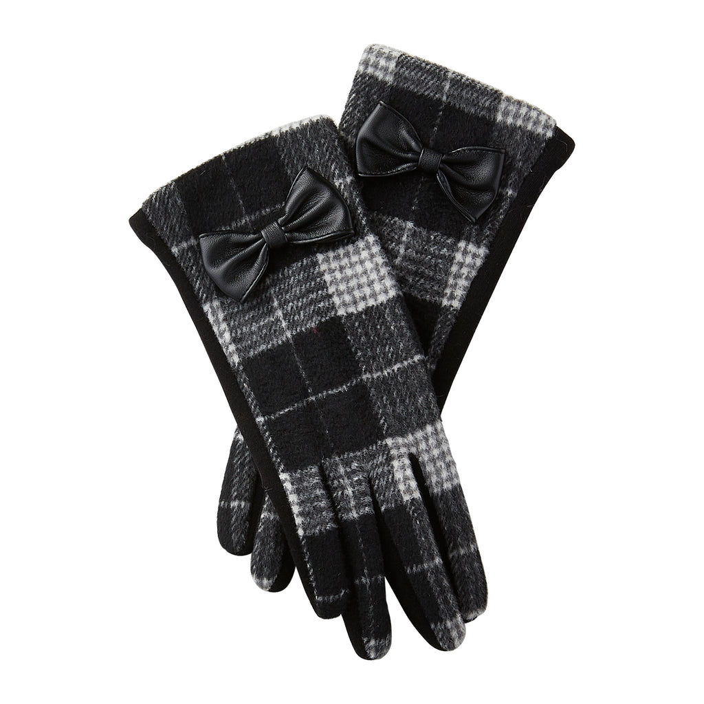 Black & White Kennedy Plaid Gloves - Tickled Pink Wholesale