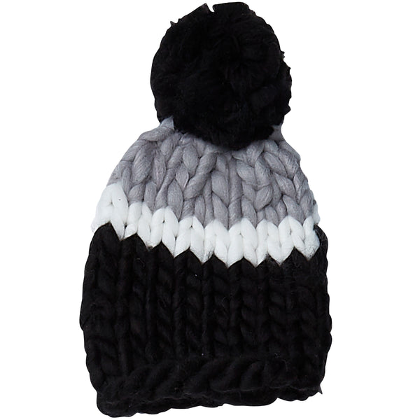 Black & Gray Chunky Knit Hat - Tickled Pink Wholesale
