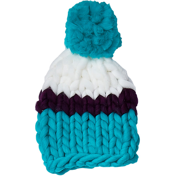 Blue & Purple Chunky Knit Hat - Tickled Pink Wholesale