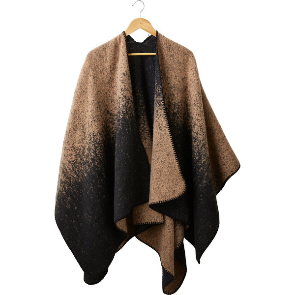 Wholesale Boutique Gifts - Hazelnut & Black Comfy Ombre Ruana - Tickled Pink