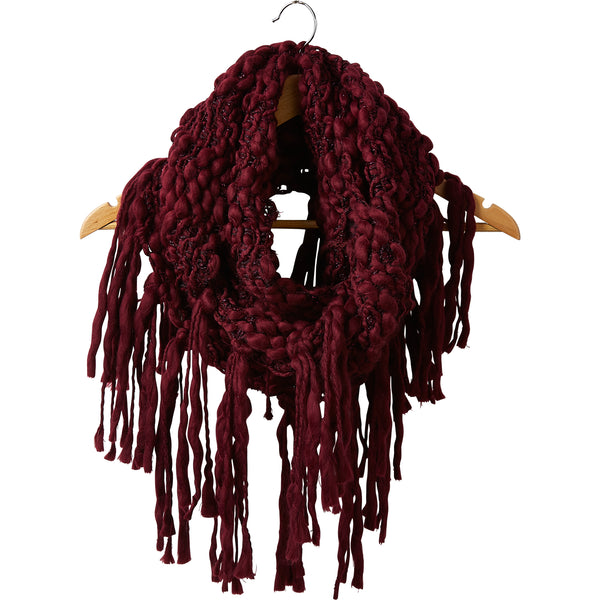 Wholesale Boutique Gifts - Wine Top Knot Fringe Infinity - Tickled Pink